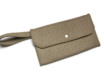 Clutch with wrist strap faux leather ostrich Taupe