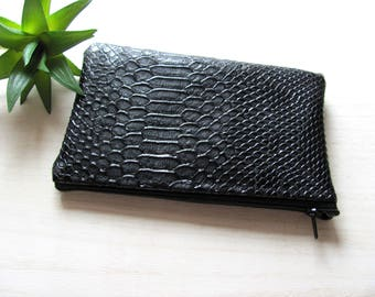 Floral cotton lining with black snake leatherette coin purse