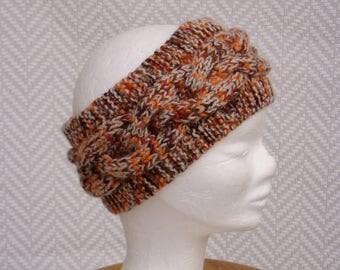 """Headband to rust and beige """"2"""" hand knitted in acrylic yarn"""