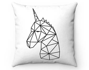 Unicorn Origami Faux Suede Square Pillow