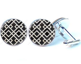 Glass cabochon cuff links - black graphics