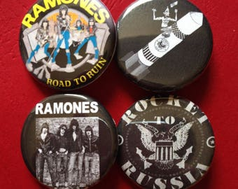 """RAMONES set of 4 buttons 1.25"""""""