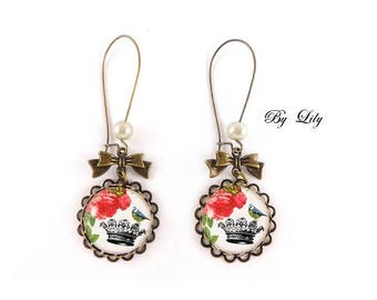 """Earring """"Bird Crown and red flowers"""", retro image cabochon!"""