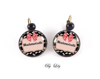 "Earring ""Mademoiselle"", retro image cabochon!"