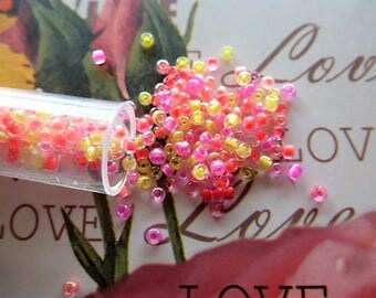 seed beads 2 mm heart mixed yellow, pink and Red value 1 tube