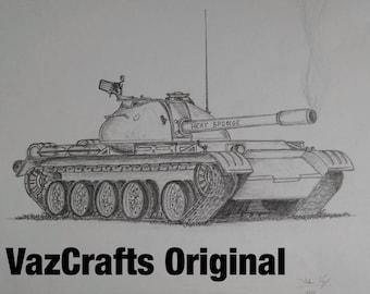 Hand Drawn Custom Tank Drawing on Heavyweight Vellum Paper