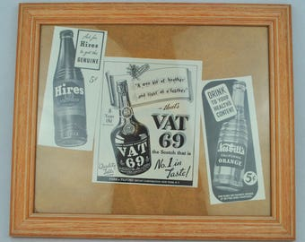 "Vintage Framed 1939 WWII Issue of 'Life' Magazine Alcohol Beverage Drinks Adverts 14"" x 12"""