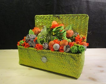 Composition of natural materials, orange and lime green
