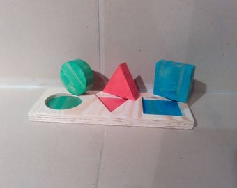 Baby toy: set of 3 shapes in fir wood