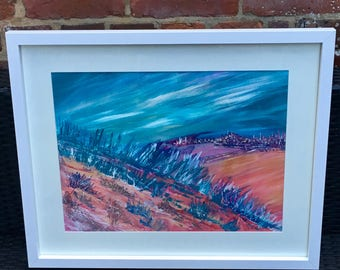 Original acrylic abstract painting framed. 'Escape from the city'