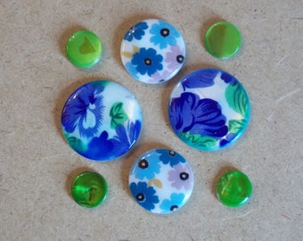 Set of 8 round mother-of-Pearl flowers blue, Spring Green