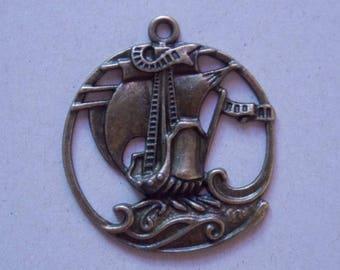 Sailboat ❥ boat charm pendant bronze