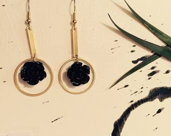 earrings with roses gold/black