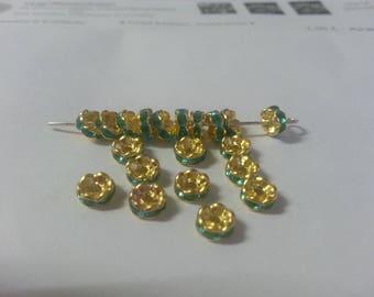 20 spacer 5mm blue rhinestone beads