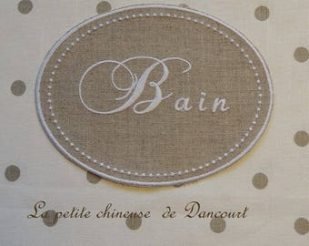 "Embroidered medallion on linen ""Bath"""