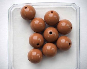 9 dark beige color 15mm resin beads