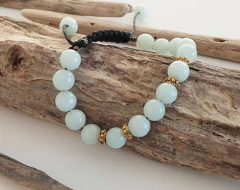 Mala bracelet, braided and Aventurine gemstone