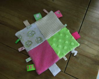 Blanket square with pink/lime ribbons