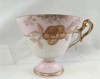 Antique pink and gold roses Lefton China Tea Cup