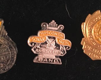 Vintage 1930's-1940's WSMA Pin Lapel Wisconsin School Music Association District Band(set 3)