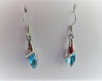 Beautiful blue zircon jewelry unique and trendy water drop DANGLE EARRINGS silver