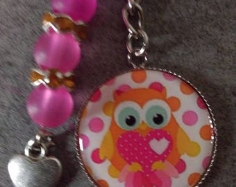 orange OWL bag charm