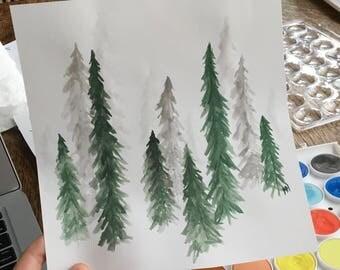 Pine Tree Watercolor