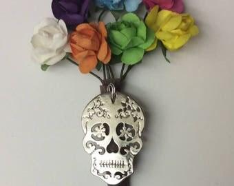 """Day of the Dead """"Dia De Los Muertos"""" sugar skull boutonniere wedding lapel pin"""