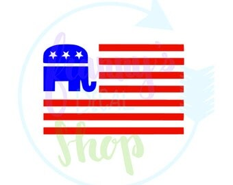 Republican Elephant American Flag Decal for Laptop, Car, Cups or Anything You Want To Add Some Political Flair