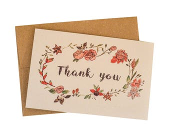 Thank you, card, recycled paper and envelope