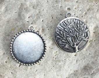 2 silvery support(medium) of round cabochon 25 mm pendants