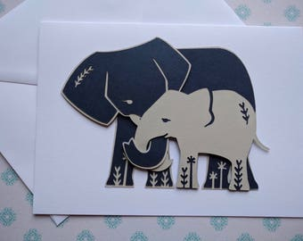 Adorable mum and baby Elephant Card - perfect for any occasion