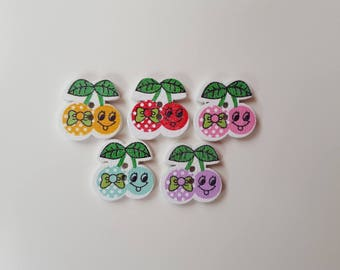 Set of 5 cherry wooden buttons