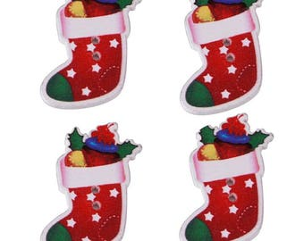 Set of 5 Christmas boots wooden buttons