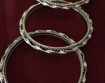 Sterling Silver twisted Bangle Bracelet - 3 piece set