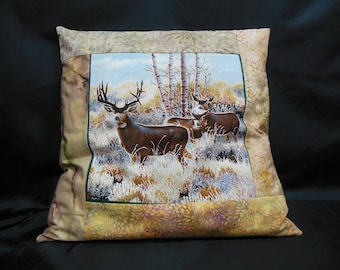 "Collection ""Indian summer"", square Cushion cover 1 deer and her DOE their Fawn (C304)"