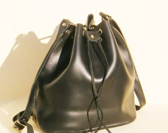 LEATHER BUCKET BAG black, Size large, Leather Shoulder Bag, Leather Bucket Purse, Made in Greece, Handmade bag