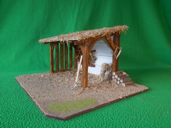 Cr che de no l artisanale en bois petite bergerie - Fabriquer une creche de noel en bois ...