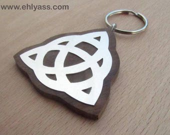 Keychain or bag charm Celtic TRIQUETRA symbol in wood and metal made fretwork