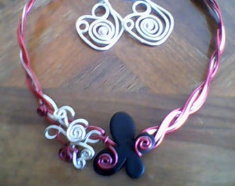 Butterfly with matching Earrings Necklace set