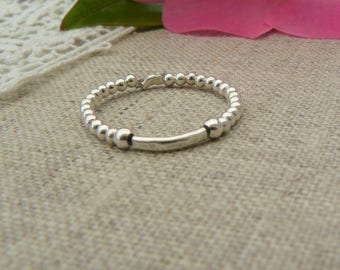 Ring sterling silver beads 925 sterling silver hammered band