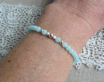 Beads blue amazonite and sterling silver beads elastic bracelet