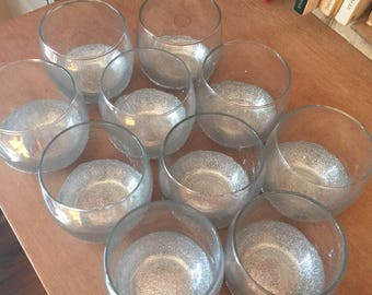 Small silver glittered candle holders (Qty: 10)