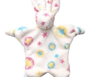 Rabbit plush white fleece and multi-colored stars