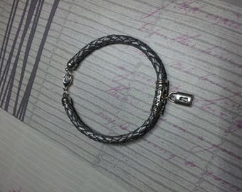 Bracelet, silver, grey braided leather padlock