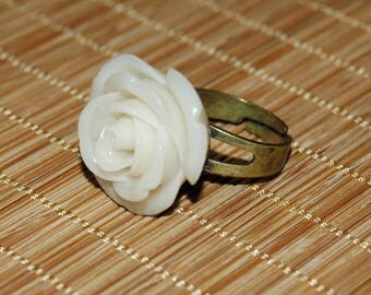 Resin - White Rose flower ring