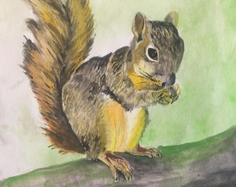 Squirrel- original watercolor