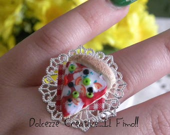 Ring - Ring - Cameo with a slice of pizza - Kawaii - miniature mozzarella-