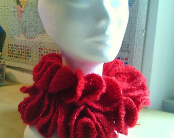 spiral crochet scarf with lurex flounces effect red for Christmas and new year holidays