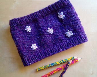wool neck scarf neck warmer for baby handmade embroidered with flowers and beads
